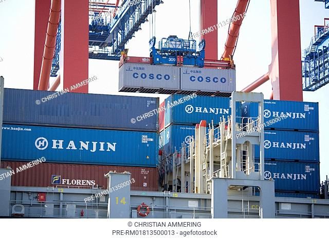 Container ship in Hamburg harbour