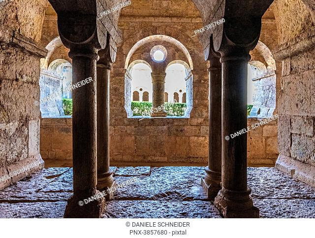France, Provence-Alpes-Cote-d'Azur, Var, cloister of the cistercian abbey of the Thoronet seen from the chapter hall