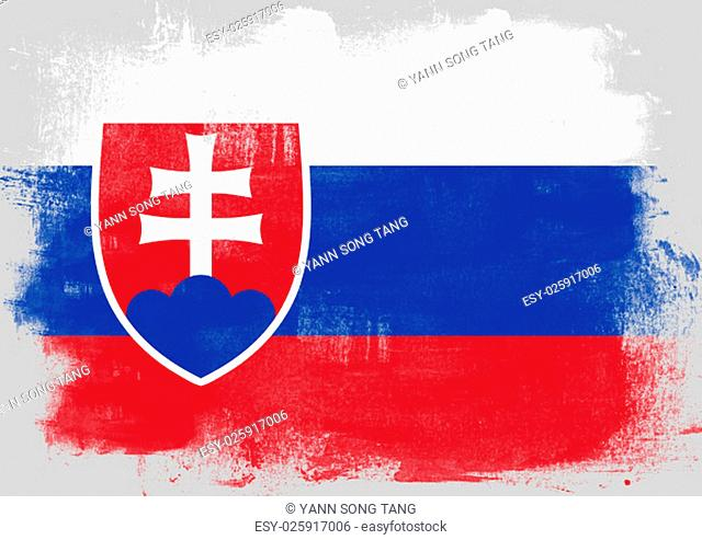 Flag of Slovakia painted with brush on solid background