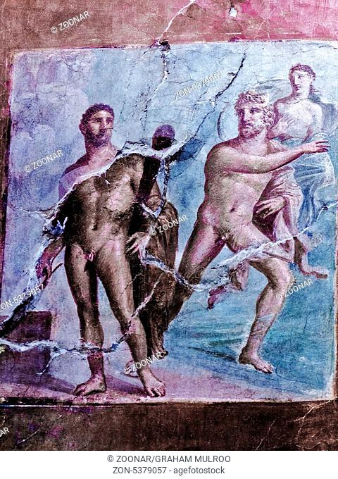 Mural Depicting Battle Between Hercules and Acheloo Herculaneum Italy