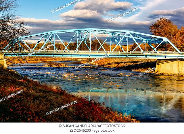 Rondout Creek Bridge - Blue bridge over the Rondout Creek in Rosedale, Ulster County, New York. The close to 80 years old bridge was refurbished for the second...
