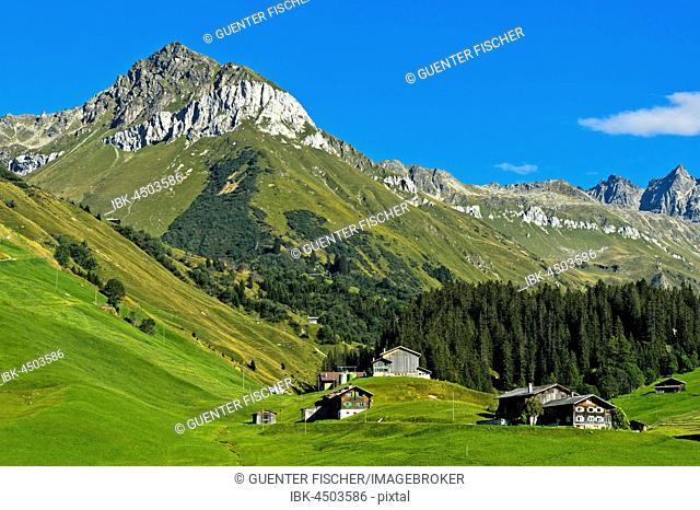 Mountain landscape with scattered settlement in the Prättigau to St. Antönien, Canton of Grisons, Switzerland