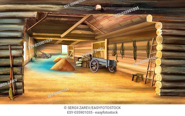 Barn with Grain in a village. Wooden cart. Digital painting, illustration in Realistic Cartoon Style