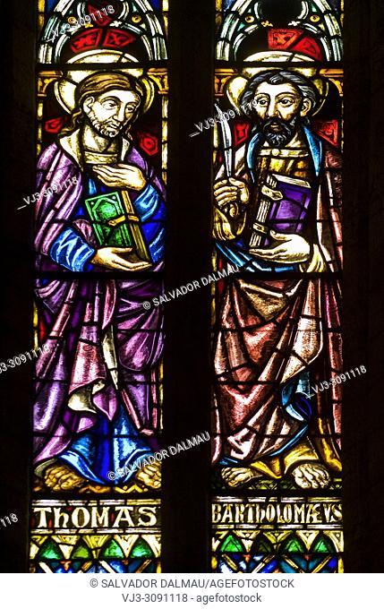 Stained glass window of saint thomas and saint bartolomeo, church santa maria dels turers, location banyoles, Girona, Catalonia, Spain