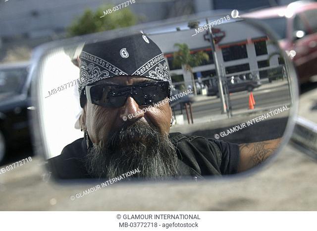 Motorcycle, rear view mirrors, reflection,  Motorcyclists, sun glass, kerchief, Portrait Motorcyclists, rockers, Biker, man, 50-60 years, 50 years, beard