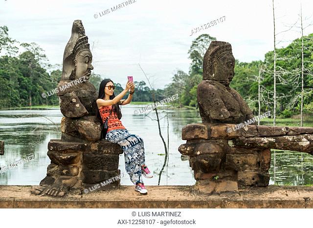 South gate of Angkor, connecting Bayon Wat and Angkor Wat; Siem Reap, Cambodia