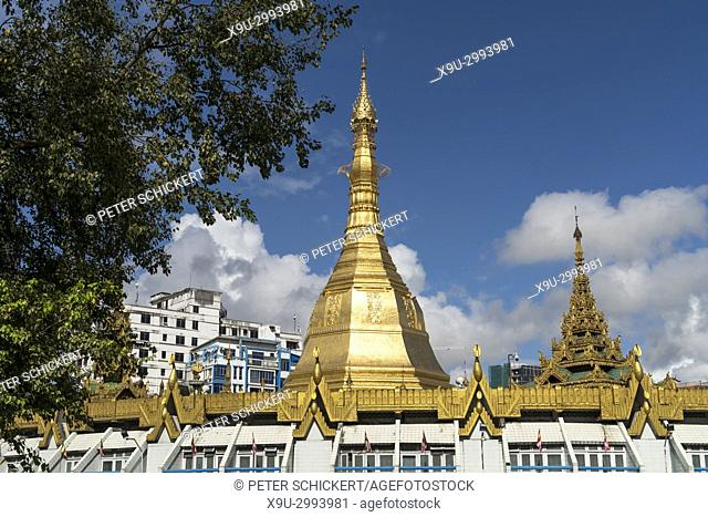 Sule Pagoda in Yangon or Rangoon, Myanmar, Asia