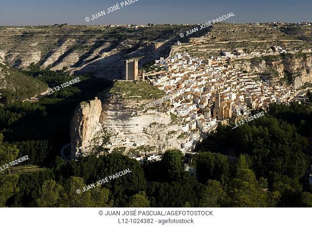 Castle and village, Alcala del Jucar, Albacete province, Castilla-La Mancha, Spain