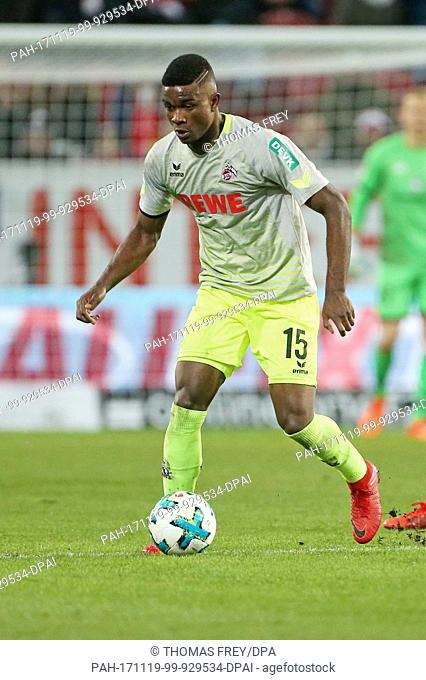 Cologne's Jhon Cordoba in action during the Bundesliga soccer match between FSV Mainz 05 and 1. FC Cologne in Mainz, Germany, 18 November 2017