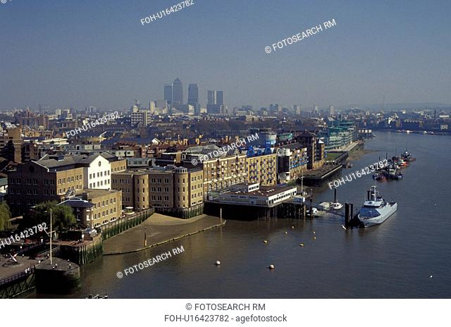 London, England, Great Britain, United Kingdom, Europe, View of London skyline and the River Thames from Tower Bridge