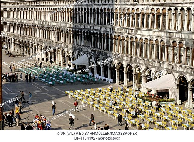 View from the San Marco's basilica to the Piazza San Marco, with the Cafe Quadri, Venice, Venezia, Italy, Europe