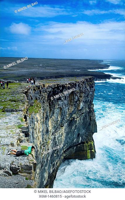 Dun Aengus fort Dún Aonghasa cliffs  Inishmore island, Aran island  County Galway, Ireland