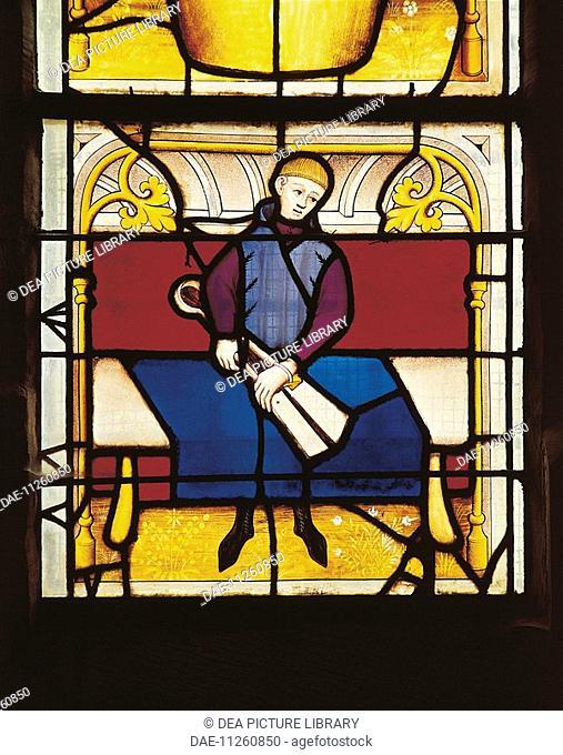 France - Burgundy - Semur-en-Auxois. Church of Notre-Dame. Stained-glass window, 15th century. Draper