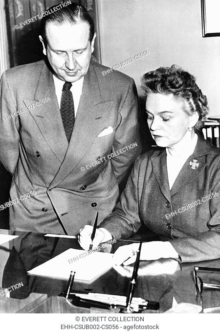 Secretary of Health Education and Welfare, Oveta Culp Hobby, April 12, 1955. She signed licenses for six drug firms to make and distribute Salk polio vaccine