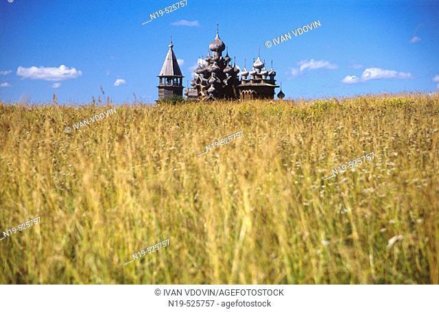 Wooden church in Kizhi (18th century), UNESCO Heritage object, Karelia, Russia