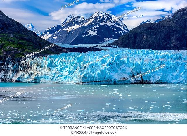 The Margerie Glacier and Mount Fairweather in Glacier Bay National Park, Alaska, USA