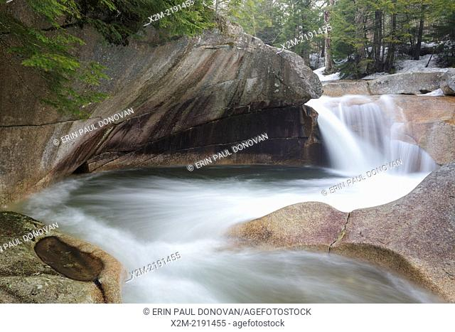 """""""""""""""""""""""The Basin"""""""" in Franconia Notch State Park of Lincoln, New Hampshire USA during the spring months. This a natural feature along the Pemigewasset River"""