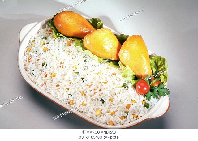 one bowl with rice and chicken food