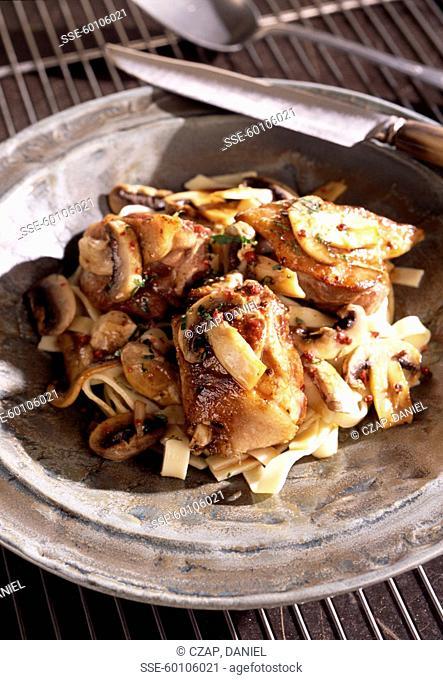 Duck with mushroom, Brazilian pepper and tagliatelle