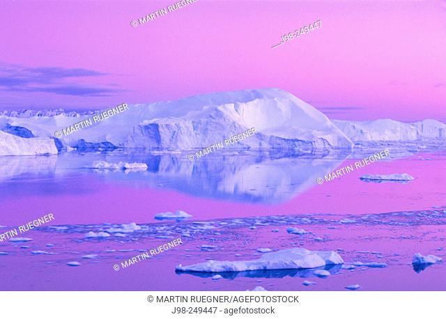 Icebergs in Jakobshavn. Diskobay. Greenland
