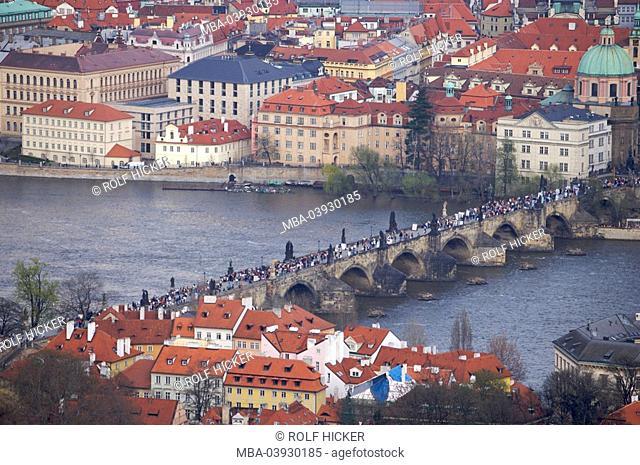 The Czech republic, Prague, city view, Karls-Bridge, river Moldavia, Europe, East-Europe, Bohemia, city, capital, destination, metropolis, Karluv most, bridge