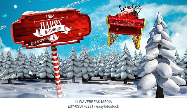 Happy Holidays text on Wooden signpost in Christmas Winter landscape and Santa's sleigh and reindeer