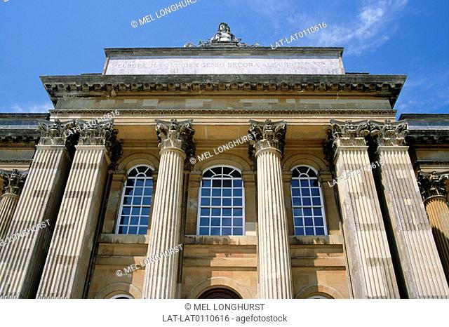 Blenheim Palace. Historic Italianate,Baroque palace. Columns,pediment. Carvings,statues. View from south lawn