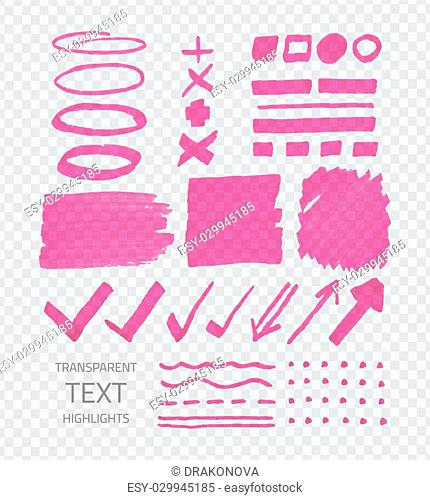 Vector collection of pink highlighter marker spots and signs, hand drawn decorative symbols, transparent elements on demonstrative gray grid