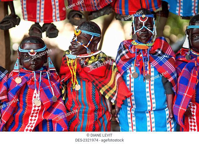 Kenya, Tribesman Dolls Dressed In Colorful Clothing; Nairobi