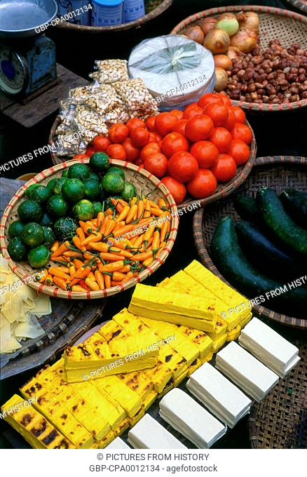 Vietnam: A variety of vegetables, tofu and nuts for sale, Old Quarter market, Hanoi
