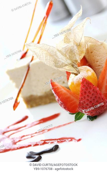Cheesecake and strawberry dessert