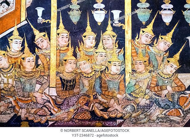 Asia. Thailand, Chiang Mai. Wat Phra Singh. Wall painting illustrating the life of Buddha