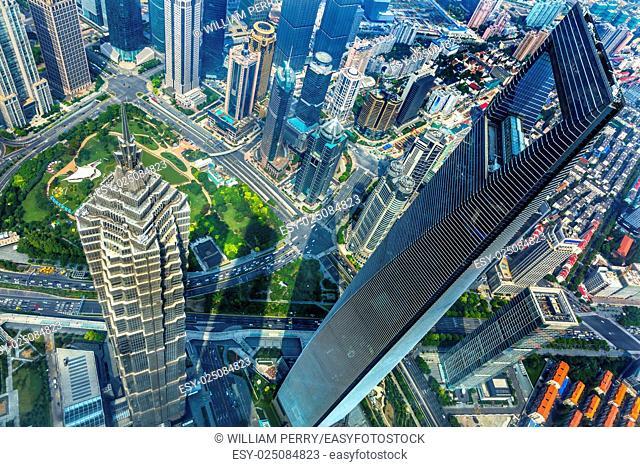 Looking Down on Black Shanghai World Financial Center SkyscraperJin Mao Tower Cityscape Liujiashui Financial District Shanghai China