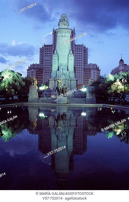 Monument to Cervantes in Plaza de España at night, Madrid, Spain