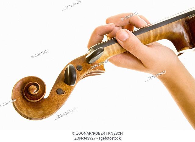 Der Hals und die Schnecke einer freigestellten Violine