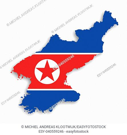 Map of North Korea with flag inside, isolated