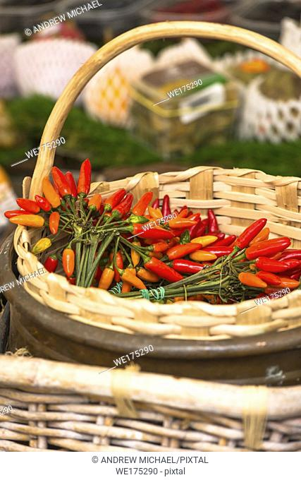 Red hot chillies in a busket at Market stall at Campo de' Fiori Market, Rome, Italy