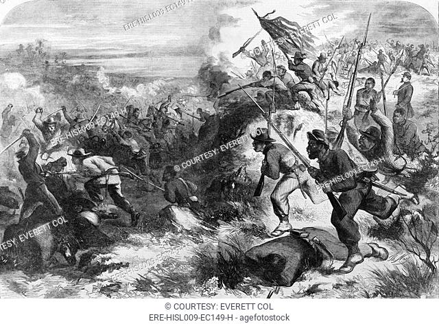 African American soldiers in a Civil War battle against their former masters, as imagined by artist Thomas Nast in March 1863
