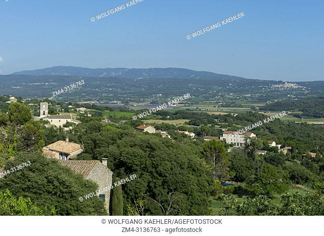 View from the hill above the medieval village of Goult in the Luberon, Provence-Alpes-Cote d Azur region in southern France, of some old houses in the village