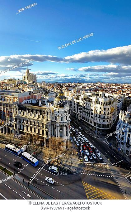Aerial view of the Metropolis building and Gran Via avenue. Madrid. Spain