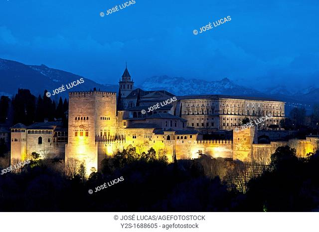 Panoramic view of the Alhambra and Sierra Nevada, Granada, Spain