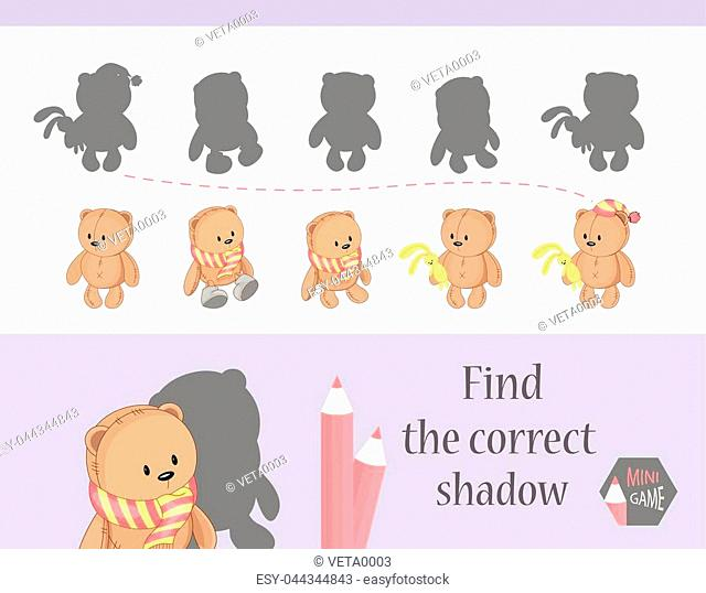 Find the correct shadow, education game for children. Cute Cartoon animals and Nature. vector illustration. bear