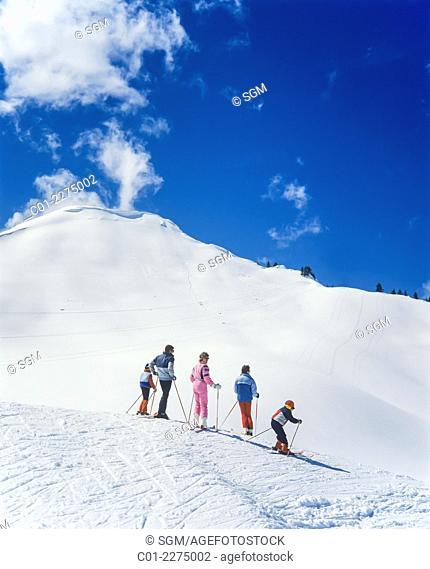 Skiers Morgins ski resort Swiss Alps Valais Switzerland