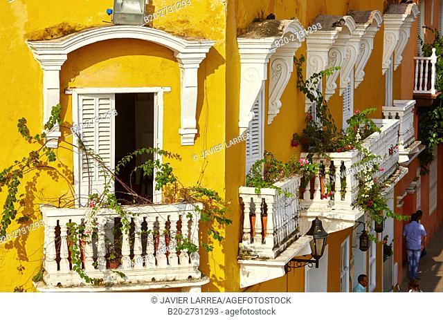 Balconies La Vitrola Restaurant, Calle del Baloco, Cartagena de Indias, Bolivar, Colombia, South America
