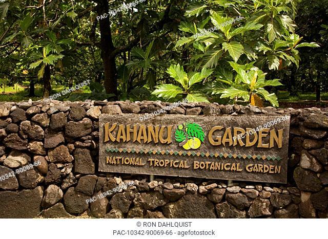 Hawaii, Maui, Hana, Sign at Kahanu Garden National Tropical Botanical Garden