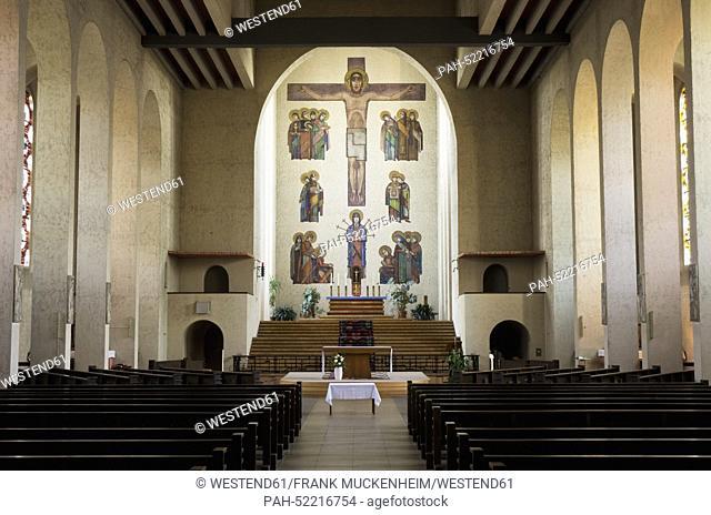 Germany, Hesse, Frankfurt, Interior of Frauenfriedenskirche church   usage worldwide, No distribution to resellers