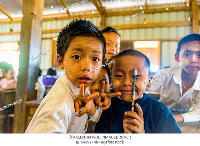 School children at school, posing for camera, Shan State, Myanmar