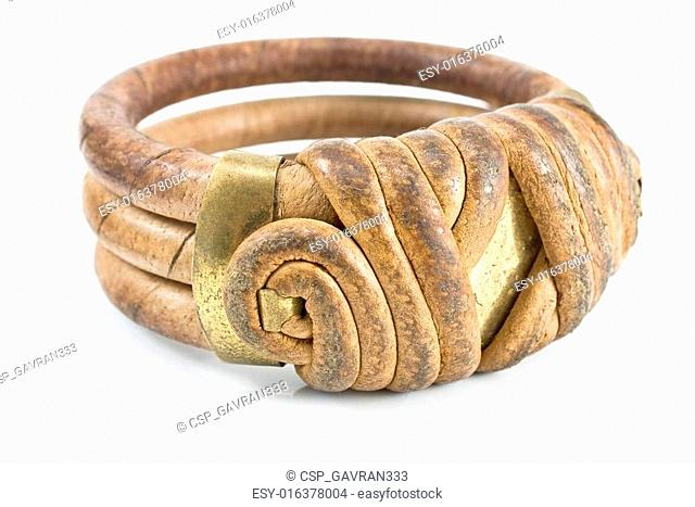 Wooden bracelet with leather isolated on white