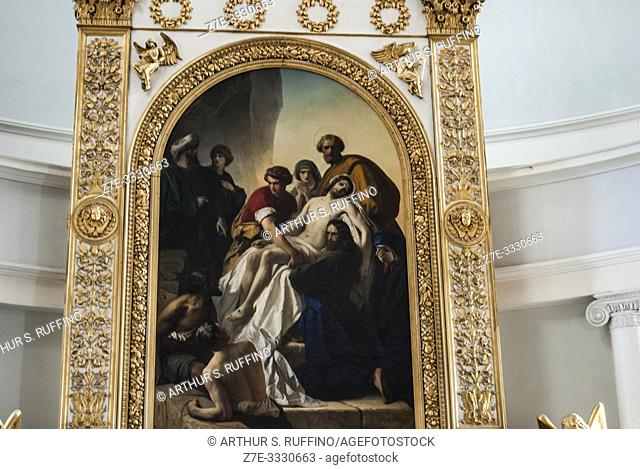 """Helsinki Cathedral altarpiece featuring a painting of the """"Deposition of Christ"""" by Carl Timoleon von Neff (1804-1877). Helsinki, Finland, Europe"""
