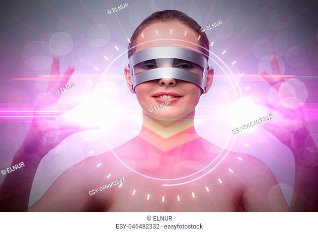 Futuristic concept with techno cyber woman